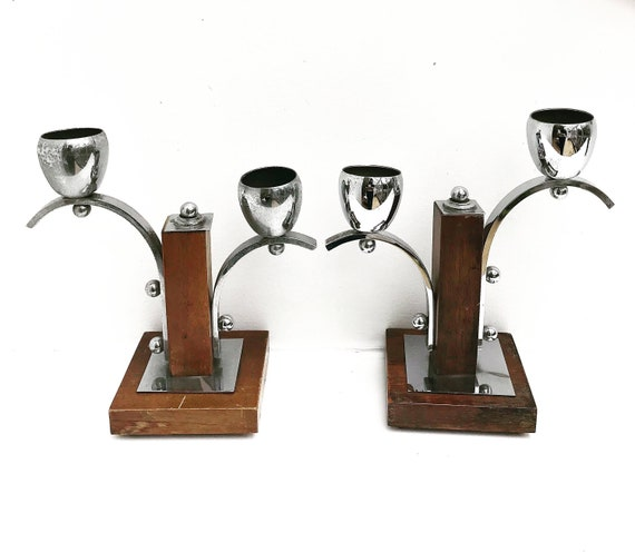 Art Deco Candle Holders  Bauhaus Style  Candleholder Chrome and wood , 1920s 1930s Antique Candlestick  Art Deco Candelabra