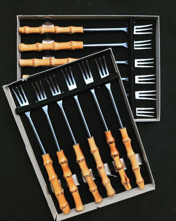 Bamboo Handle Set 12 Long Forks buffet server charcuterie  fondue Flatware Vintage Set Mid century 1960s tiki Bamboo Handle Japan boho chic