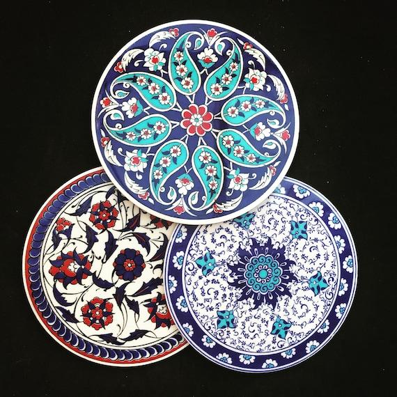 Ceramic Trivets set 3 wall decor Iznik and Ottoman design Vintage cork bathroom tiles blue white red  flowers geometric
