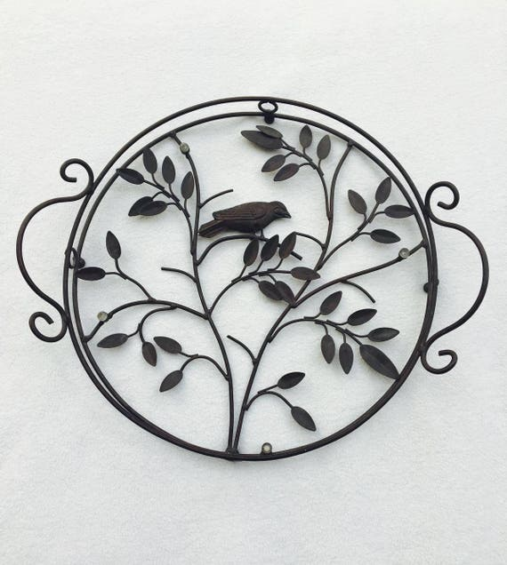 Tray Large Round Wire French Vintage Metal Wire Tray Metal Glass with Bird Leaves Flowers Life Tree Cottage Country Chic Handmade, France