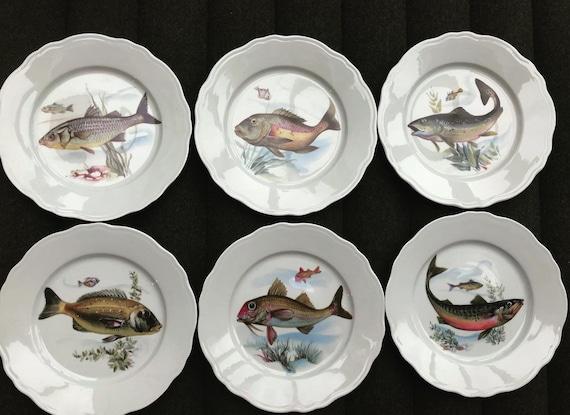 Fish Plates Dinner service set 6 plates  Porcelain Vintage French Wedding gift Coastal Kitchen Decor Beach side home decor Coastal kitchen