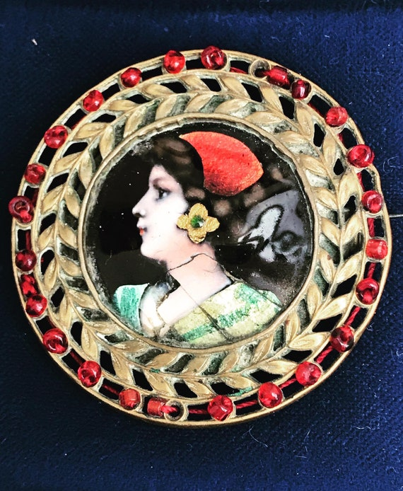 Vintage  Brooch Pin coat cameo miniature Victorian portrait jewlery gift for mom gift for her best friend gift