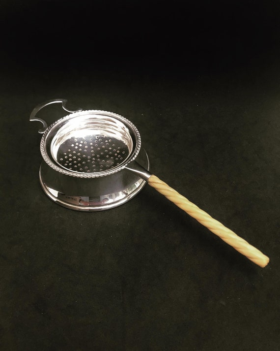 Tea strainer Antique Edwardian English silver plated Vintage with underplate small sweet dish Wedding gift hostess  bone antique strainer