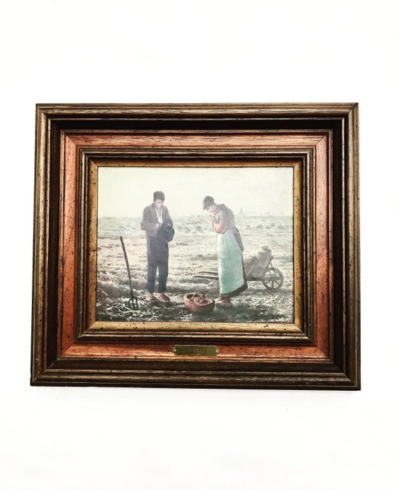 Painting printed on canvas reproduction Jean-Francois Millet framed ready to hang The Angelus  for home decor wall art Christmas gift