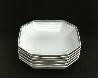 Porcelain Bernardaud Limoges Soup or Pasta plates Set 6 square Paul Poiret Années 30s discontinued replacement white turquoise Art Deco