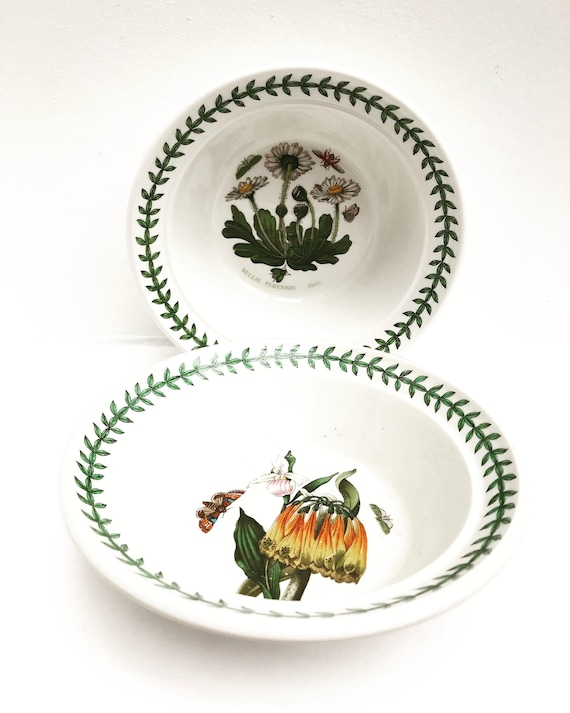 Portmeirion Botanic Garden Cereal Bowls,  Portmeirion Bowls Tea light, Breakfast Bowls, 1970s China, china replacement, english china, 70s