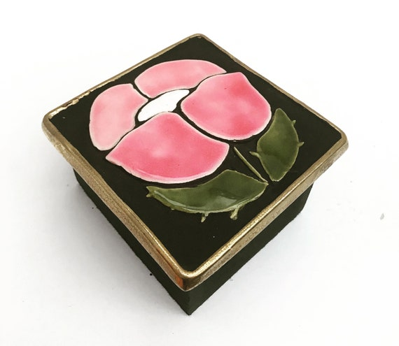 Jewelery Box Francois Lembo Vintage Square Ceramic Jewelery flowers  pink bordeaux French Vallauris glazed  Mid Century French Vanity decor