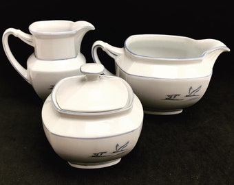 Tea Coffee creamer sugar bowl Porcelain Winterling spülmaschinenfest  bavaria Vintage rare replacemnt Birds pattern  beachside coast kitchen