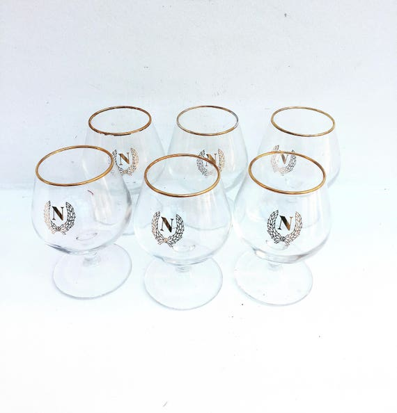 """Cognac Glasses Napoleon Vintage French Cognac Brandy Monogramed Glasses """"Napoleon"""", Glasses, Bistro, Man Cave, Digestive, French Country"""