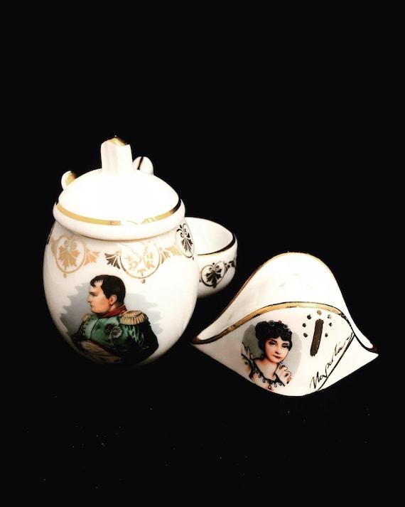 Salt Cellars French Vintage Limoges Napoleon Bonaparte Josephine 60s Golden Porcelain Salt Pots  salt/pepper servers Cellars