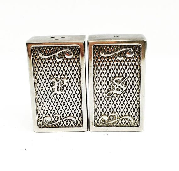 Salt and Pepper Shakers Vintage Vera Lucino Silver Plated  Mid Century Silver Plated, Salt And Pepper Shakers Patina, Galoche Italian