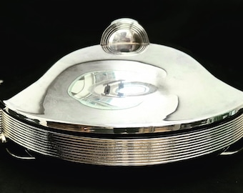 Art deco Style dome serving oven dish Silver Plate Tray Platter Lidded round serving  with lid dinner wedding gift christmas table dessert