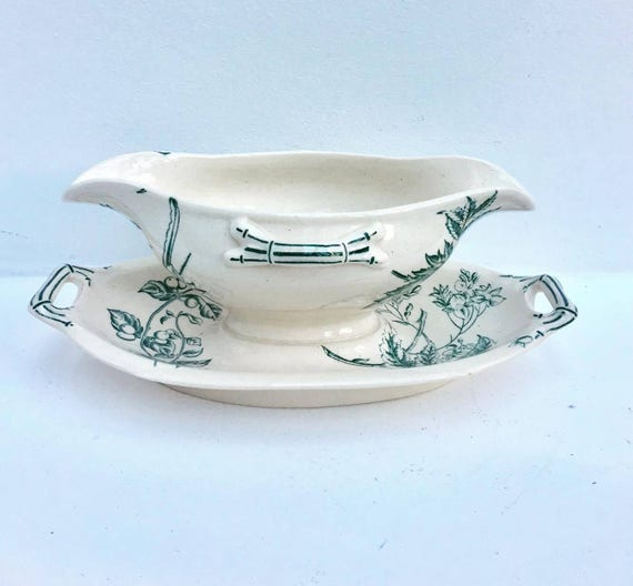 White and Green Gravy Boat, Sauce Boat, Under Saucer attached   vintage, large Boat  with dish,