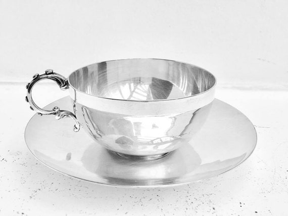 Chocolate cup or tea cup Old Wiskemann, silver metal cup , mug, by Bruno Miskemann, Art Deco,  chocolate tea, coffee, cup, girl gift