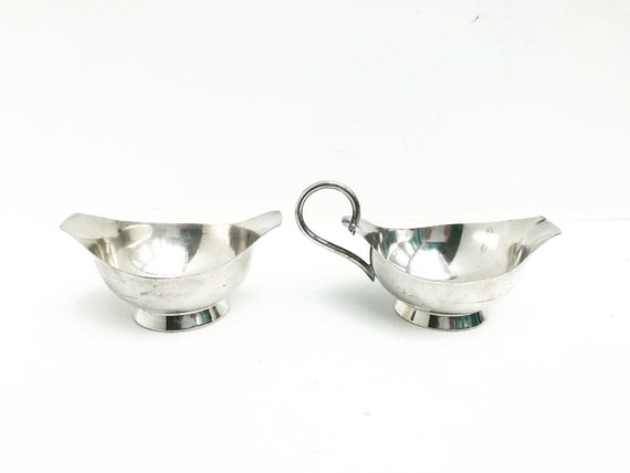 Creamer and sugar bowl Nysolv 60gr Norway Silver Plated Mid Century Modern Scandinavian design scandinave table Modernist Kitchen decoration