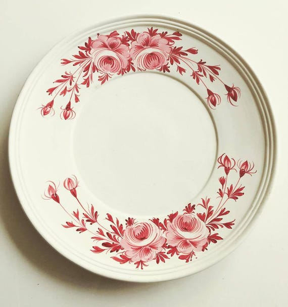 Large dish Italian pottery, dish extra large Italian faience decorated with flowers pink, serving dish, old dish, old pottery, Mid Century