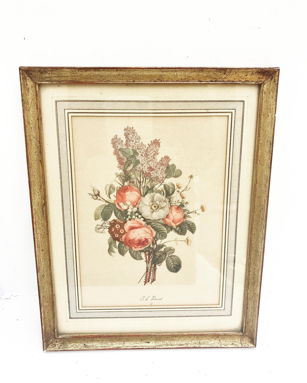 Stupendous Framed Roses Print Vintage J L Prevost French Botanical Interior Design Ideas Lukepblogthenellocom