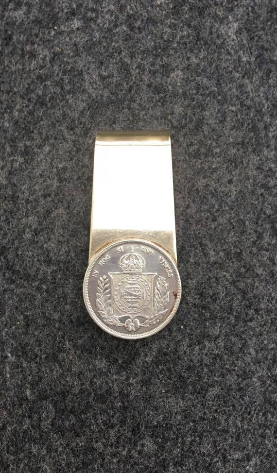 Pocket money holder, with old silver coin Brazil Gift for Him, Gift for man, gift friend, coin, Brazil metal money holder,  mid century.