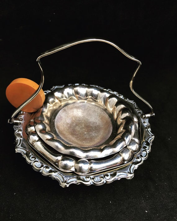 Tea strainer Antique silver plated Vintage with underplate and a small sweet dish Wedding gift hostess gift bakelite antique strainer