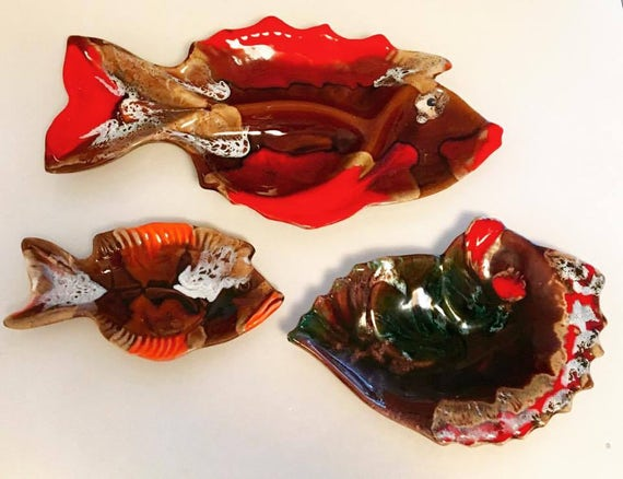 Vallauris Set 3 French Appetizer Plates, 2 Fish Shaped Ceramic Enamelled, 1 shell-shaped. Mid Century Vallauris pottery brown orange pottery