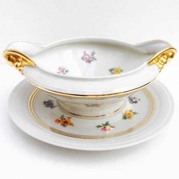 Sauce Gravy Boat Antique French  Limoges  Fixed Under Plate Sauce Bowl boat