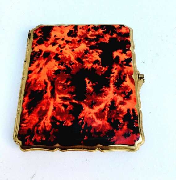 Vintage Stratton Enamel Red and Black Case, Compact case, Cigarette holder, Business card holder, Vintage wallet, Mid century wallet