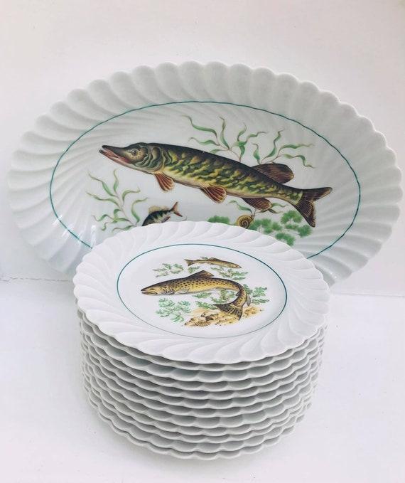 Fish Plates Entrée service Haviland Limoges set 12 plates  Porcelain Vintage French Wedding gift Coastal Kitchen Decor Beach side kitchen