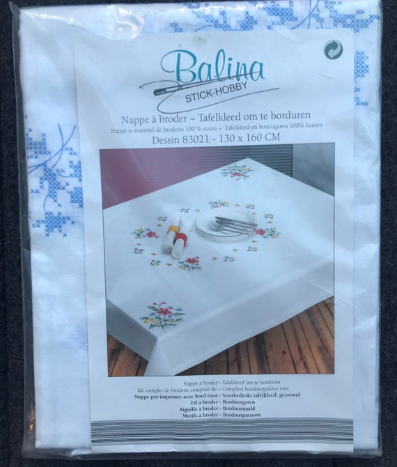 Embroidery Kit Complete Tablecloth Set, Embroidery Kit for Beginners, Adults, Cross Stitch Traditional embroidery printed tablecloth kit
