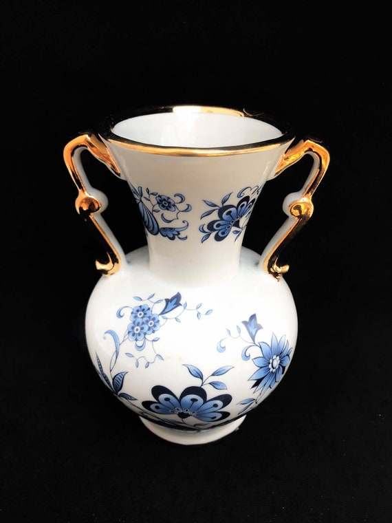 Vase White and Blue porcelain with golden handles, Marked Porcelaine R Made in France Table entrance bedroom decor gift for her mom gift