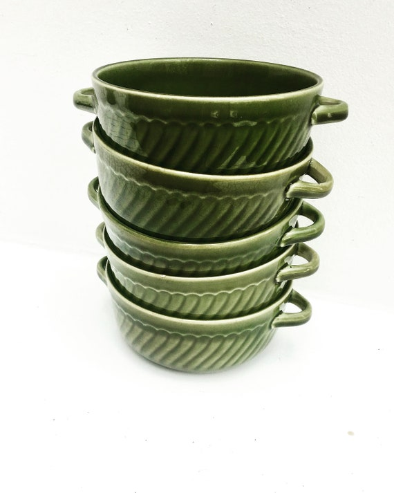Green Soup Bowl dinnerware Boch, Belgium Trianon with handles dishes La Louviere Belgium Trianon model green dinnerware, belgian pottery