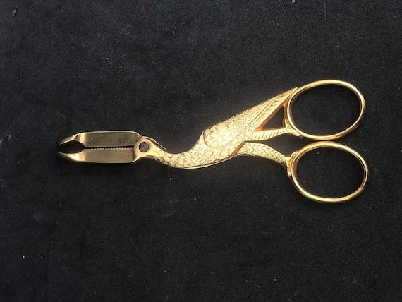 Sugar Tongs golden vintage, Collectible Stork Crane Sugar Tongs art Nouveau Antique Collector gold accents tea table golden decor