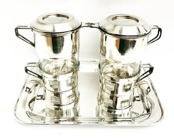 French Vintage Coffee Makers Art Deco Single Cup Coffee filter french coffee Filter Single Cup  Silver Plated French Vintage Drip O Lator