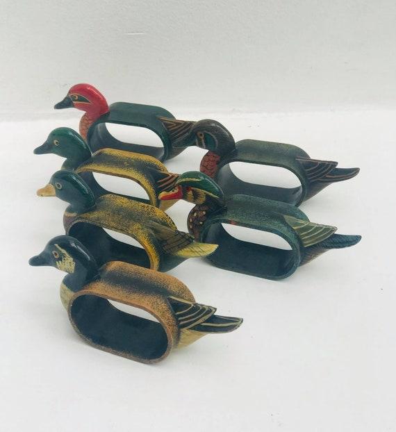 6 Vintage Duck Napkin Rings Animal Country hunter  set 6 gift Decorative Napkin boho chic  Home Decor, French Duck hunt lover