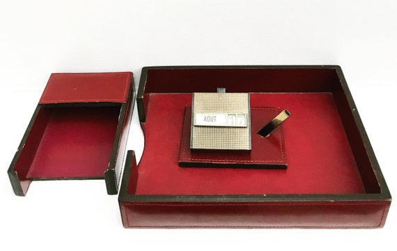 Desk organizer for men set leather burgundy Letter Organizer  Vintage Mid Century 50s Desktop Perpetual calendar Organization Storage office