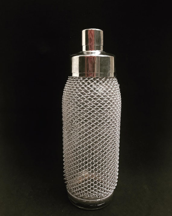 Cocktail Shaker Vintage Wire Mesh 1950 1960s Art Deco Bar Tools Bar Cart Accessories MCM  Barware gift for him 60s decor gift for him