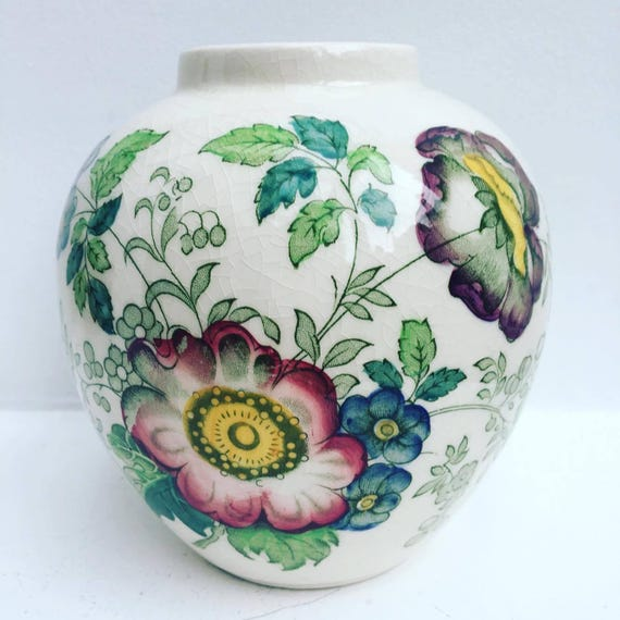 Ironstone vase  by Masons Highly Collectible, old china, english vase, english china, flowers pattern, old china , masons vase.