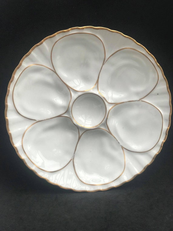 1 White Gold Oyster Plate Collection France Antique Plate Porcelaine Vintage White Oyster  Plate, Dish Collection, Collectors  gift for mom