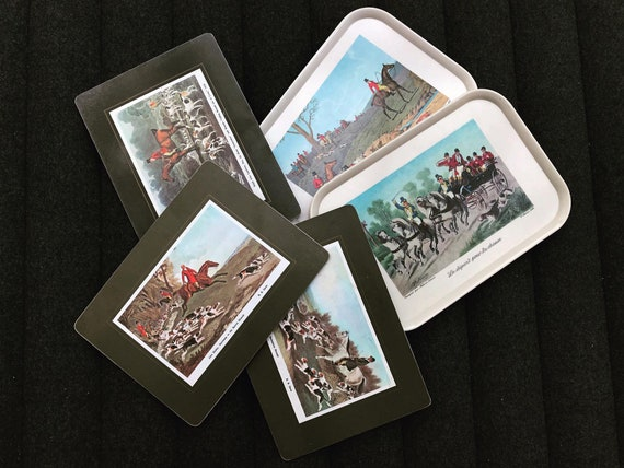 Fox hunting placemats table mats set of 3 and 2 plastic trays hunting decor cork Placemat England 70s gift mom hostess serving hunter gift