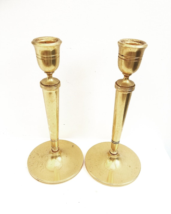 Golden candlestick Pair of Heavy Cast golden Art Deco Candle holder Holiday orfèvrerie Delheid Hollywood Regency  Wedding decor gold accent