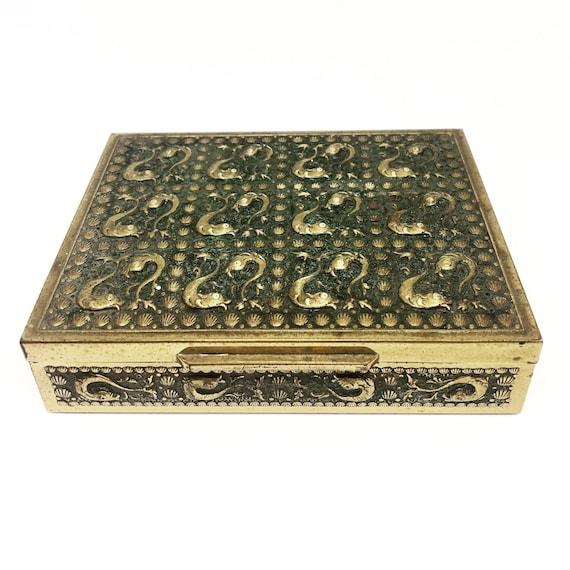 Brass embossed box, Vintage Wooden Box, English Colonial  Jewelry Box, Tobacco Box, Wood Box, Decorative Box, Fish Decorated box, Fish Decor