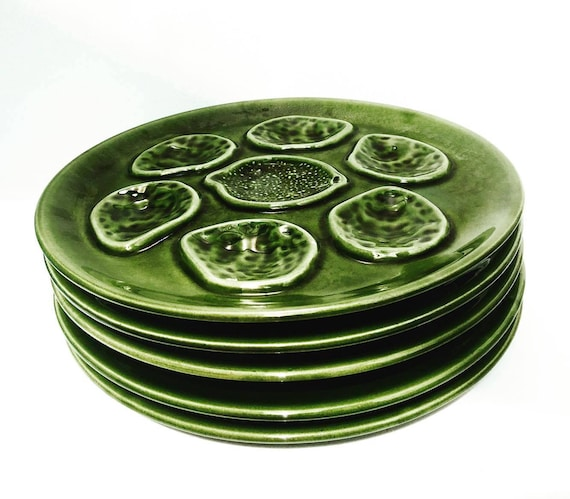9 Vintage Green  Oyster Plates, Niderviller Faience  50s, oyster plate, oyster dish, collector oyster collection Wedding gift  mid century.