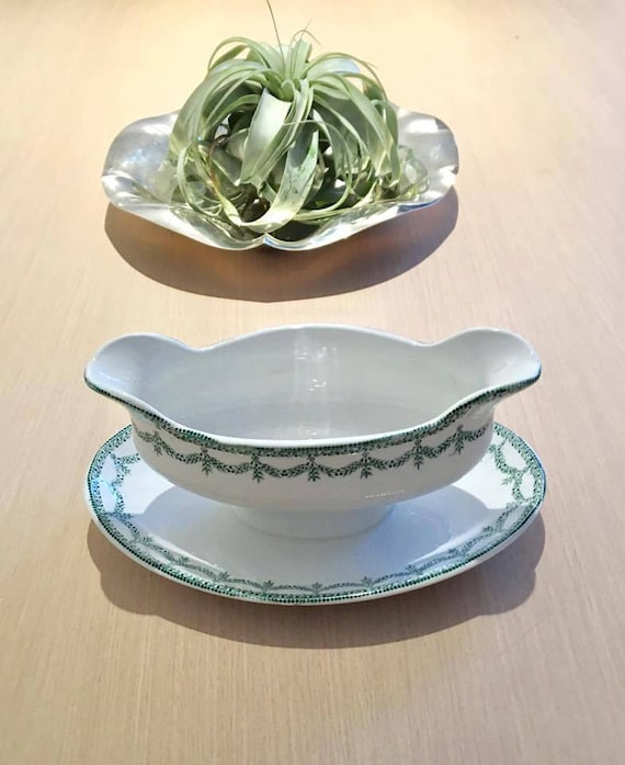 Gravy Boat, Sauce Boat Vintage, Large with Dish, White Porcelain  Green Guard. made in France  Wedding gift, dinner table, green and white