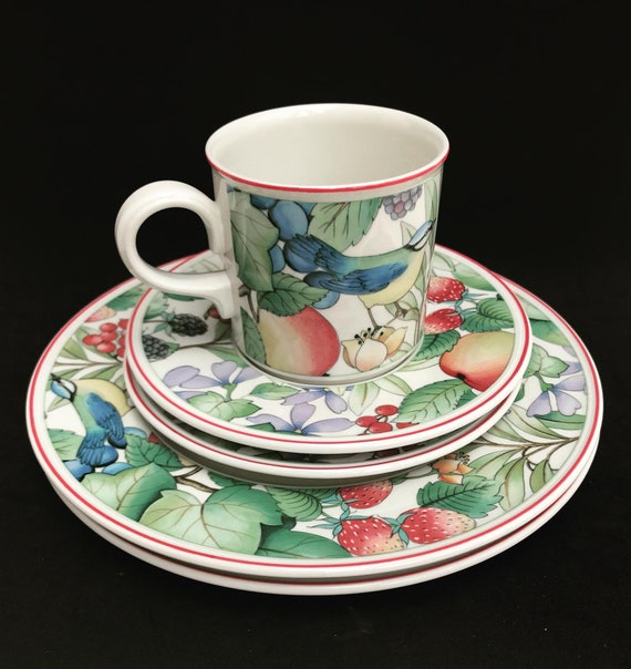Breakfast Set Villeroy and Boch Catalina  Coffee Tea Cup saucer Plate 70s breakfast for one single gift replacement strawberry decor