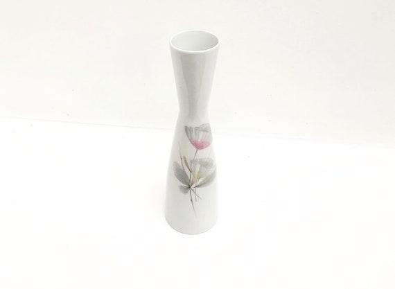 White vase porcelain  Mid Century Bavaria Waldershof Vase  with pastel flower design  Made in Germany wedding gift soliflore romantic decor