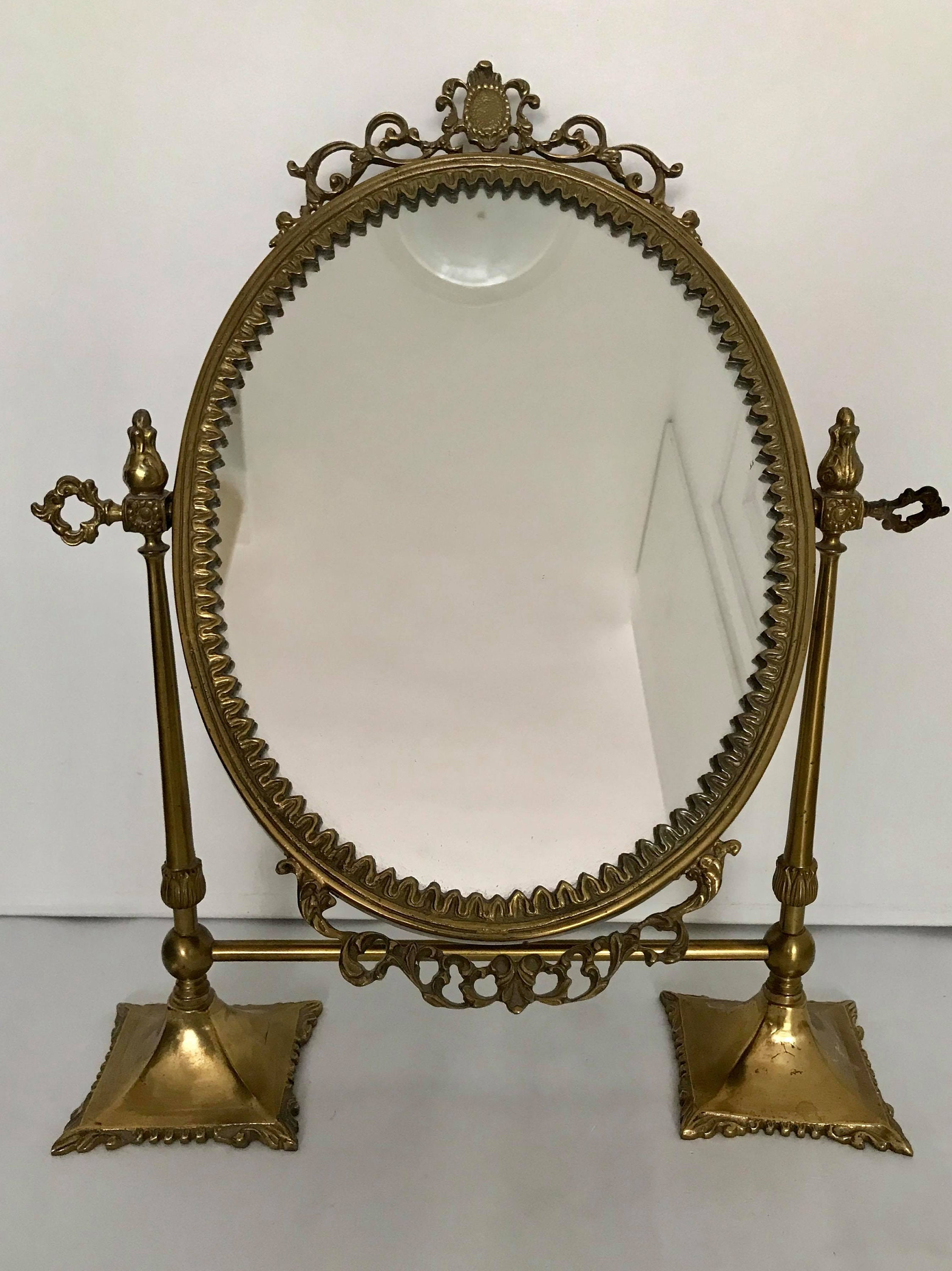 Vintage Table Top Mirror Oval Vanity on Pedestal French ...