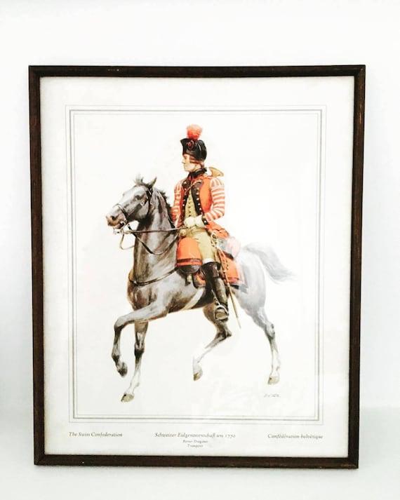 Military Uniform, Illustration Switzerland, Militaria, Military Regiment Switzerland, Military Engraving, Regiment Officer, XVIII Century.