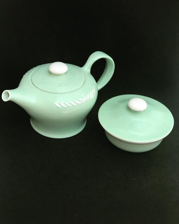 Coffee Tea set Vintage Figgjo Flint Norway Sissel Mint green sugar bowl Teapot 1950s Ragnar Grimsrud Scandinavian