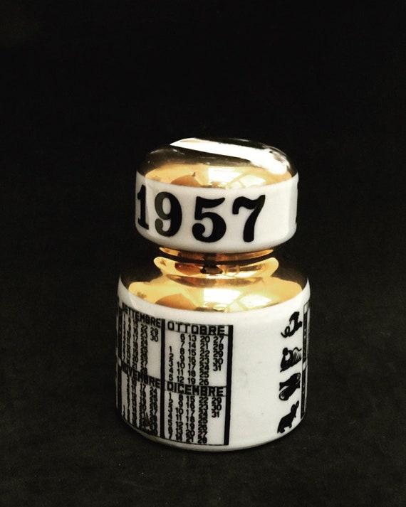 Fornasetti Original Paperweight commemorative insulators Century 1957 Golden Trim Desk Decor Italian design ornament Gift for him