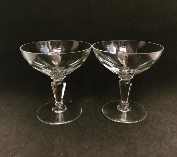 Champagne glasses Set 2 crystal Val Saint lambert Liquor cocktail low sherbet coupes 1920s Art Deco Vintage bar cart wedding decor gift