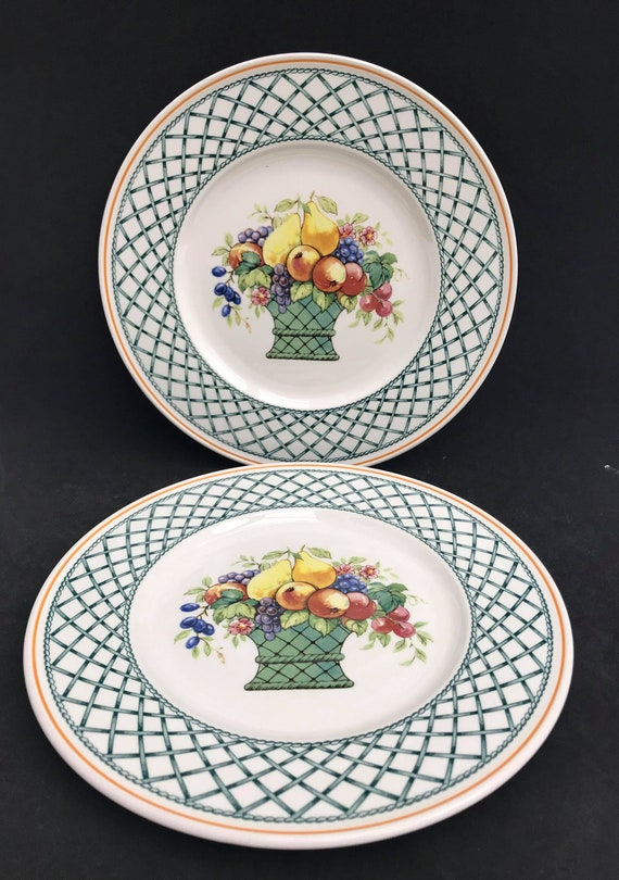 2 Villeroy & Boch Basket Salad Plates Collectable China Replacement Vintage Dinnerware Dish, Collection, Discontinued China